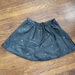 Faux leather skirt with stud detail